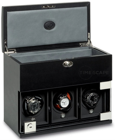 Underwood (London) - 3-Unit Classic Watch Winder w Storage in Black Leather