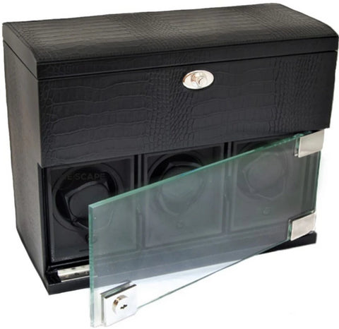 Underwood (London) - 3-Unit Classic Watch Winder w Watch Storage in Black Croco