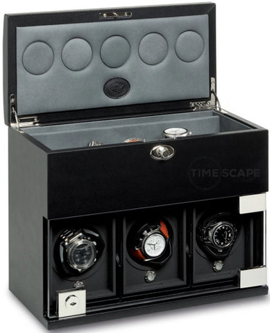 Underwood (London) - 3-Unit Classic Watch Winder w Watch Storage in Black Leather