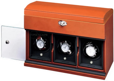 Underwood (London) - 3-Unit Classic Watch Winder w Watch Storage in Tan Leather