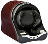 Underwood - Single Rotogalbe Watch Winder in Brown Croco