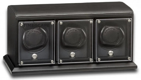 Underwood (London) - 3-Unit EVO Watch Winder in Black Leather