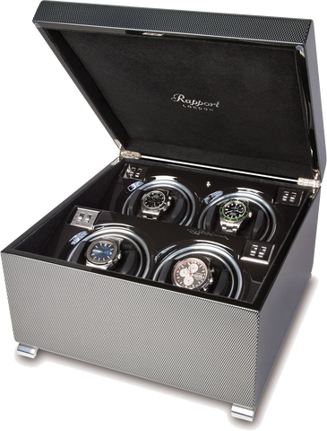 Rapport Vogue Watch Winder Quad in Carbon W374