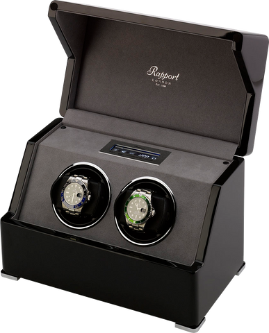 Rapport Perpetua Touch Screen Watch Winder Duo in Ebony W572