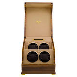 Rapport Perpetua Touch Screen Watch Winder Quad in Satin Walnut W584