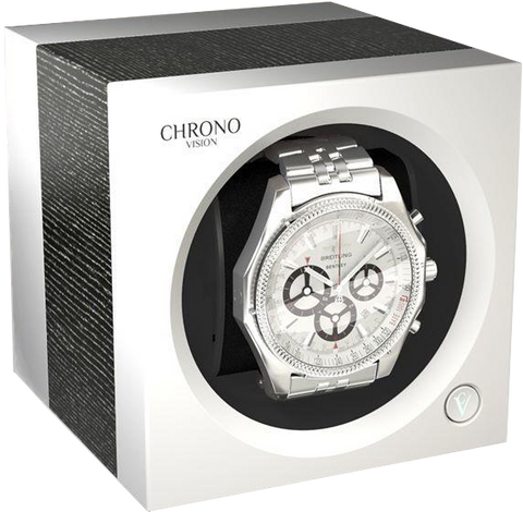 Chronovision 1 Single-Unit Watch Winder in Argento Silk & White Silk