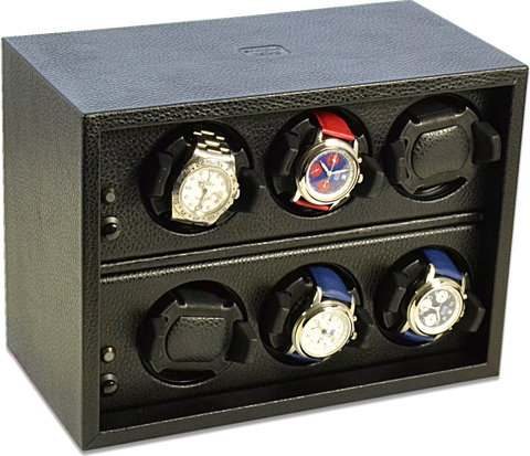 Scatola del Tempo Cornice 6RTOS 6-Unit Watch Winder in Black Leather Grain