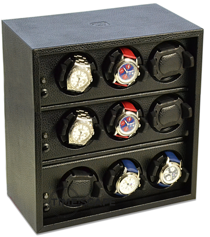 Scatola del Tempo Cornice 9RTOS 9-Unit Watch Winder in Black Leather Grain