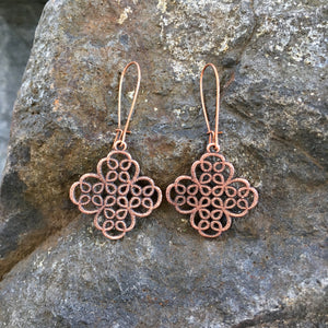 Hand Antiqued Clover Filigree Earrings - copper or silver