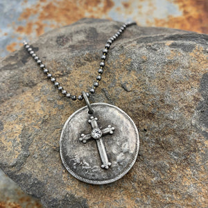 Blessed Pewter Cross Pendant Necklace Religious Jewelry