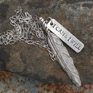 Silver Wandering Feather Necklace
