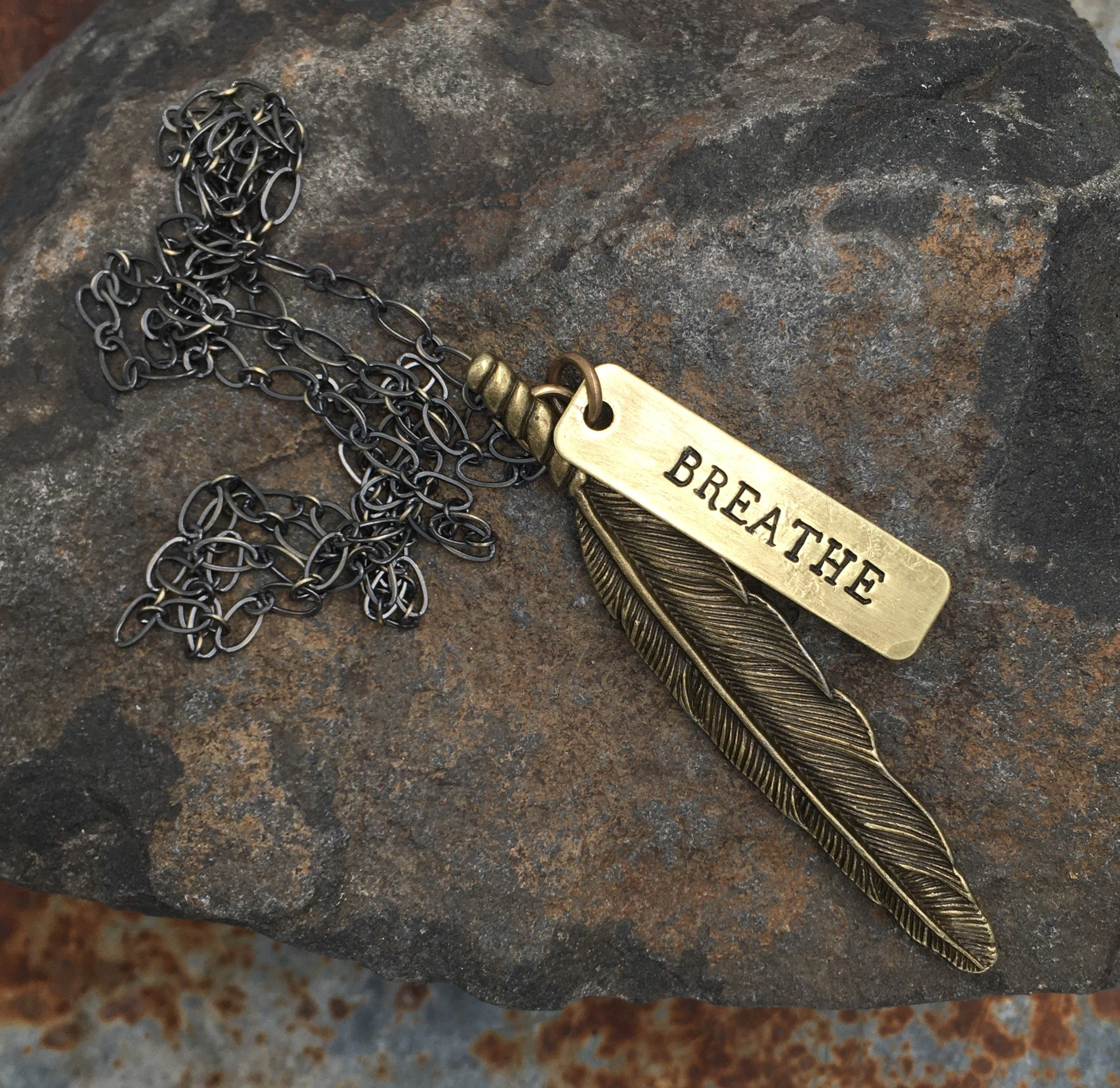 Bronze Wandering Feather Necklace
