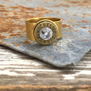 Adjustable Wide Band Bullet Ring - Antique Gold