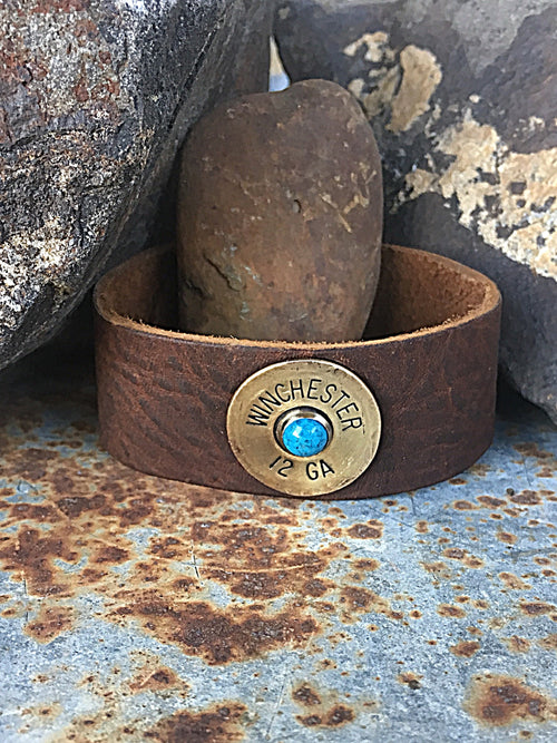 Shotgun Shell { Leather Cuff }