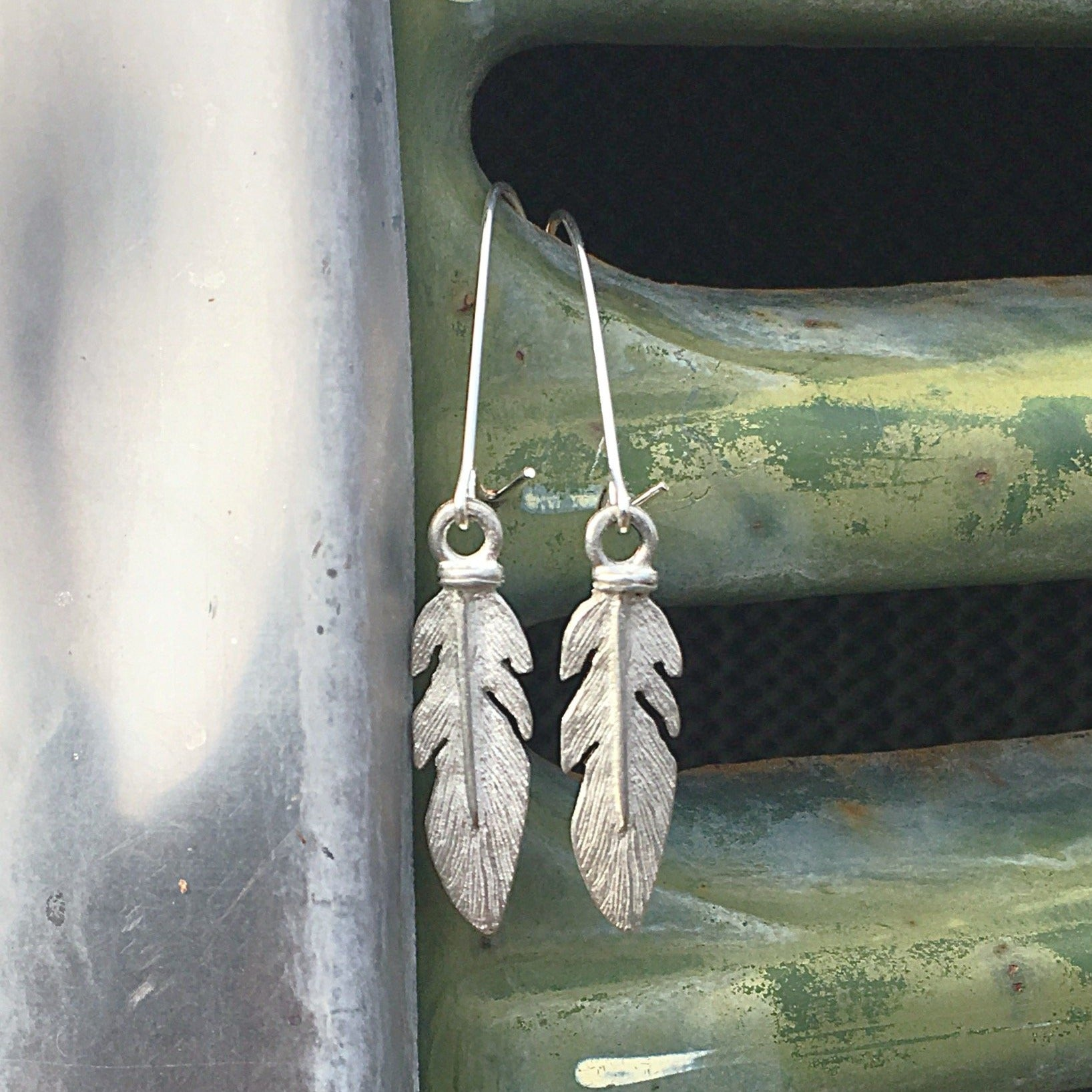Feather Pewter Earrings