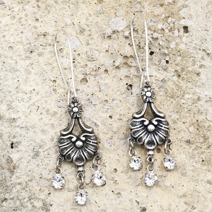 Antique Silver Crystal Chandelier Earrings
