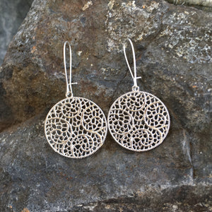 Hand Antiqued Circle Filigree Earrings -  copper or silver