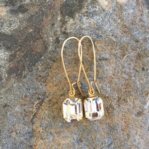 Clear Swarovski® Crystal Drop Earrings - copper, silver or gold