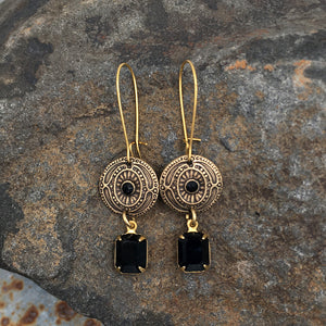 Antique Gold Vintage Swarovski Black Crystal Earrings