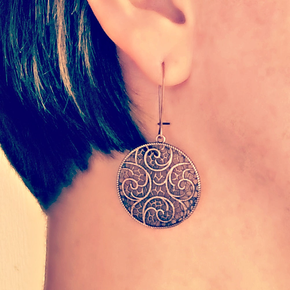 "Hand Antiqued "" Lace"" Filigree Earrings"