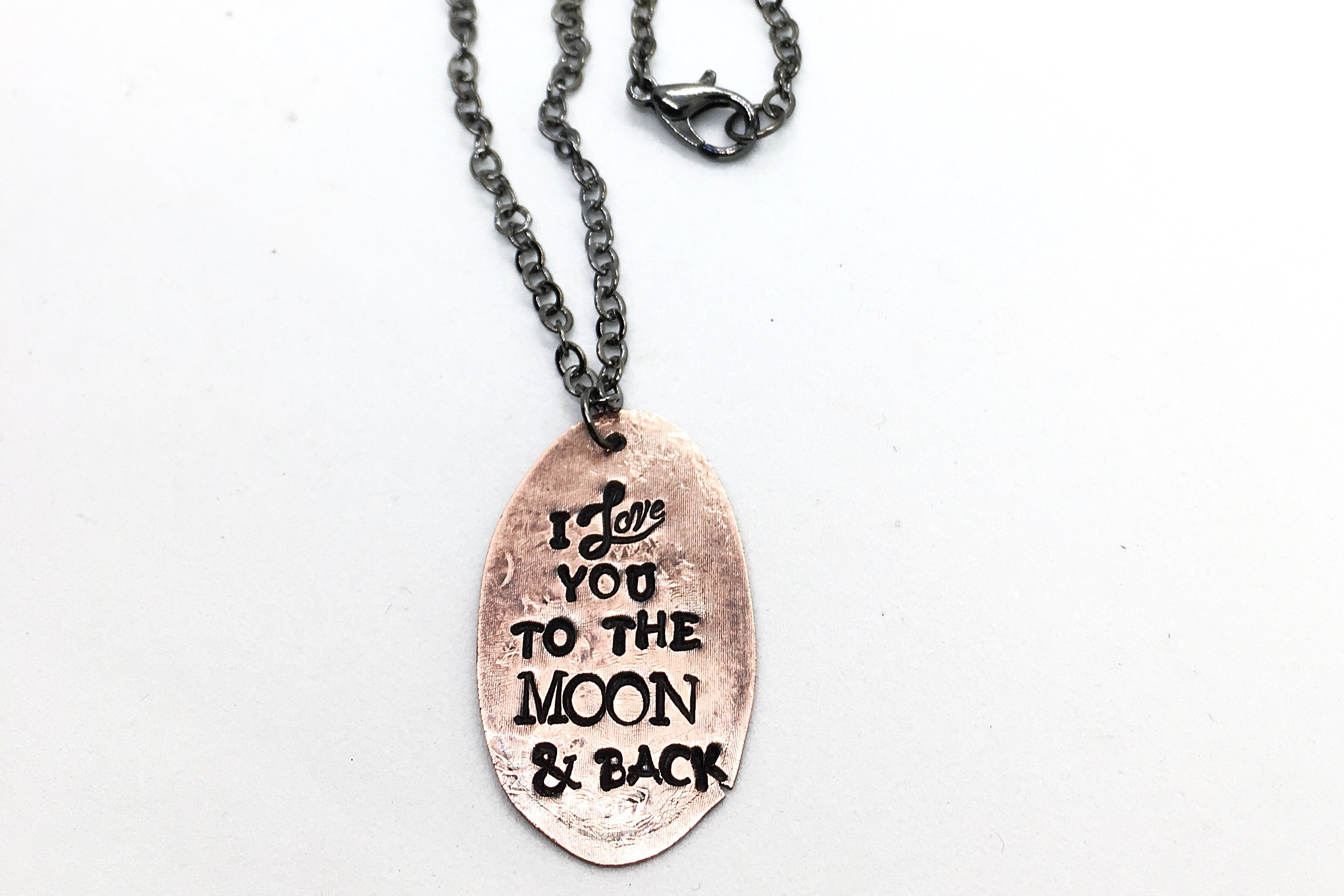 Flattened Souvenir Lucky Penny Hand Stamped Quote Necklace