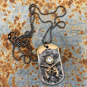 Pistol Annie Dog Tag Bullet Ball Chain Necklace Jewelry