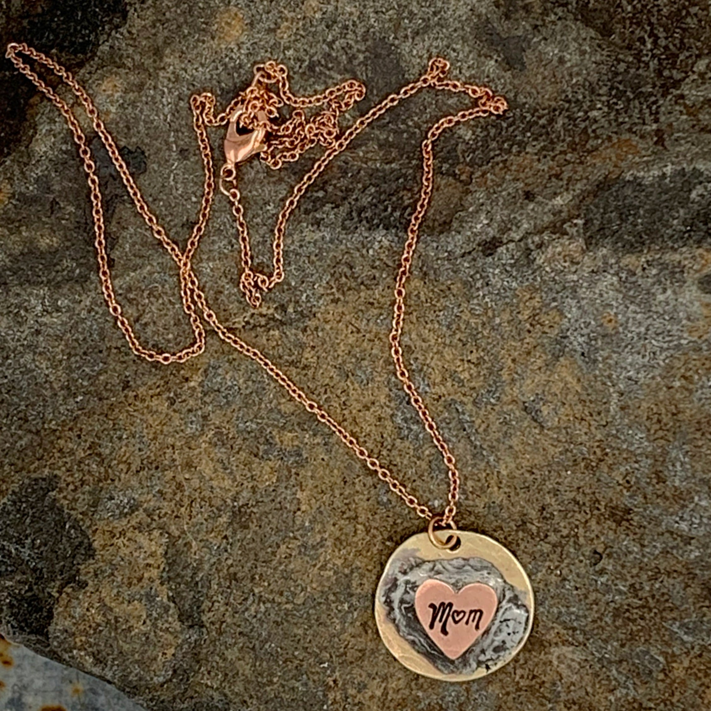 Soldered Mom Heart Necklace