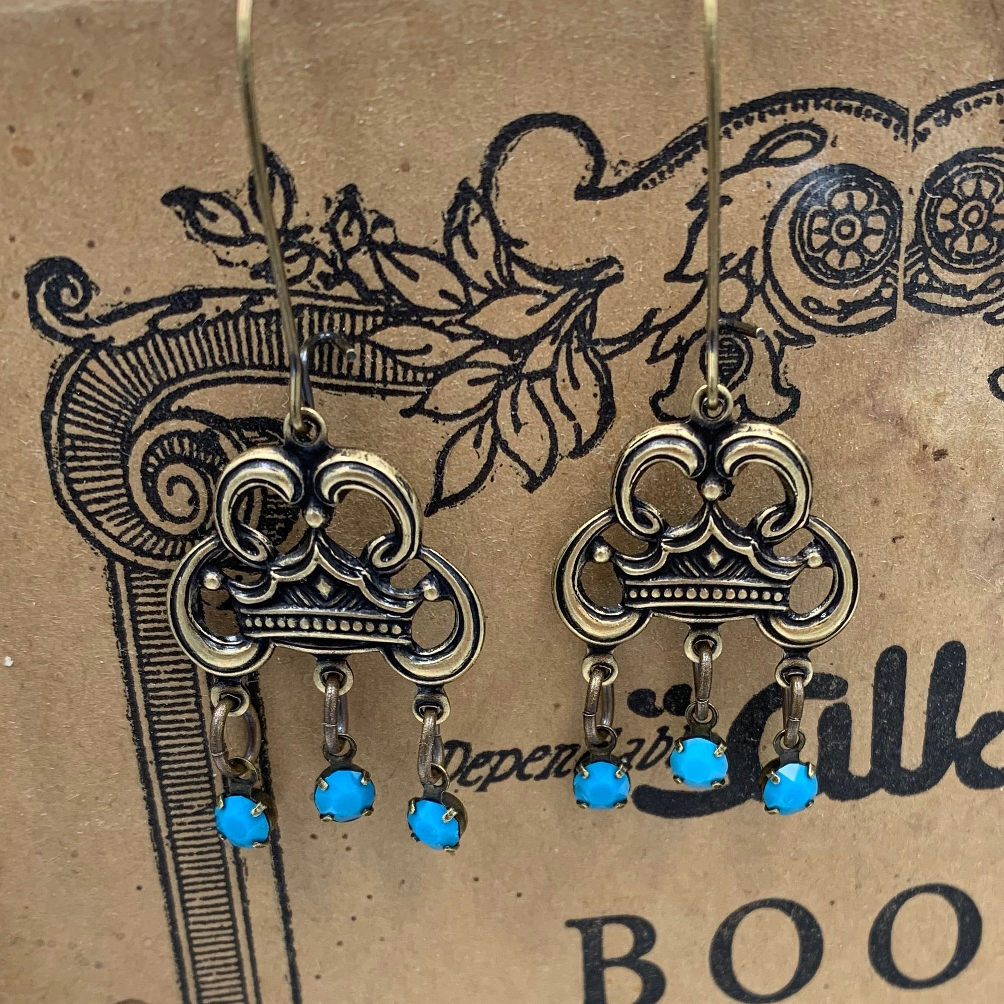 Crown Drop Earrings - Swarovski Turquoise Jewelry