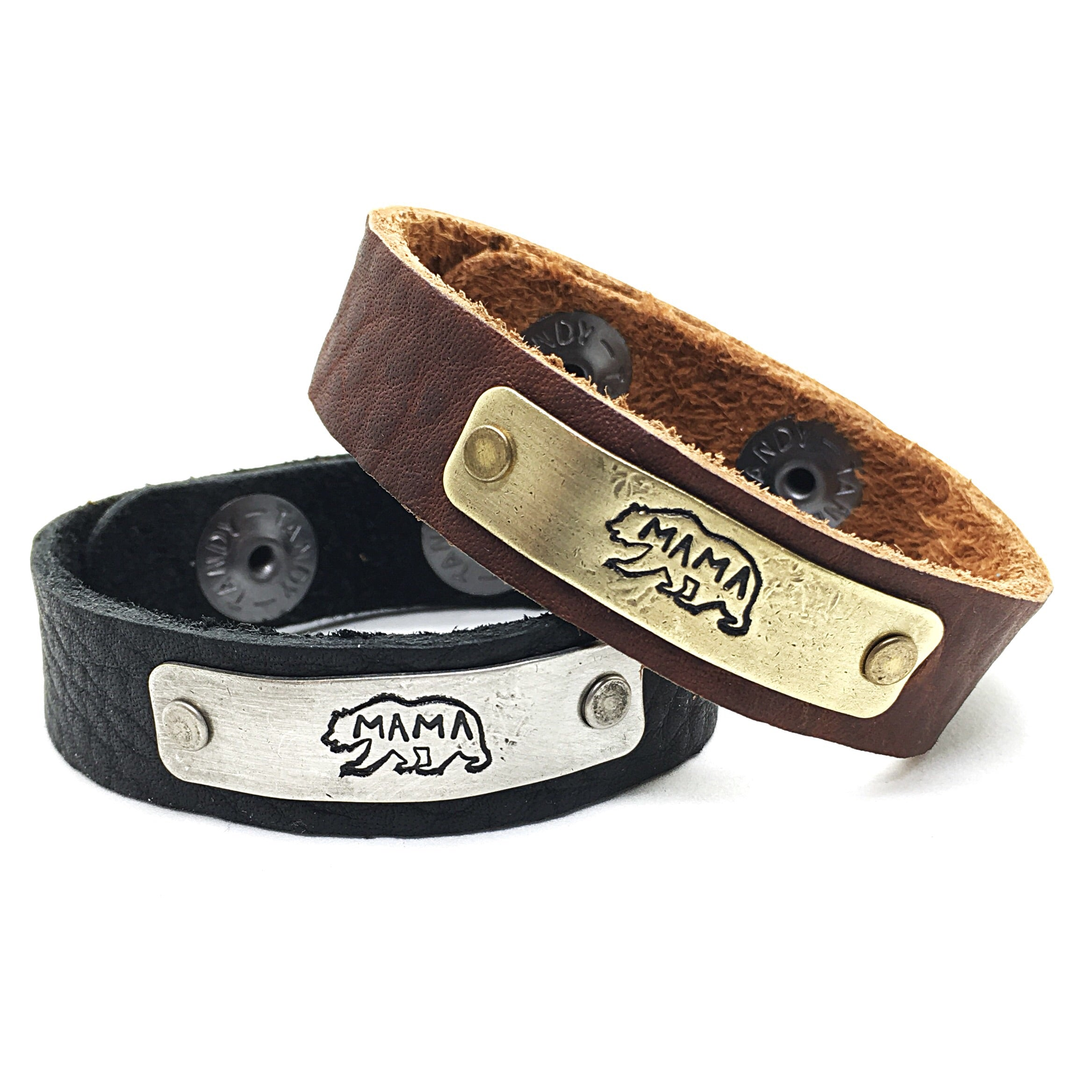 Mama Bear Leather Bracelet