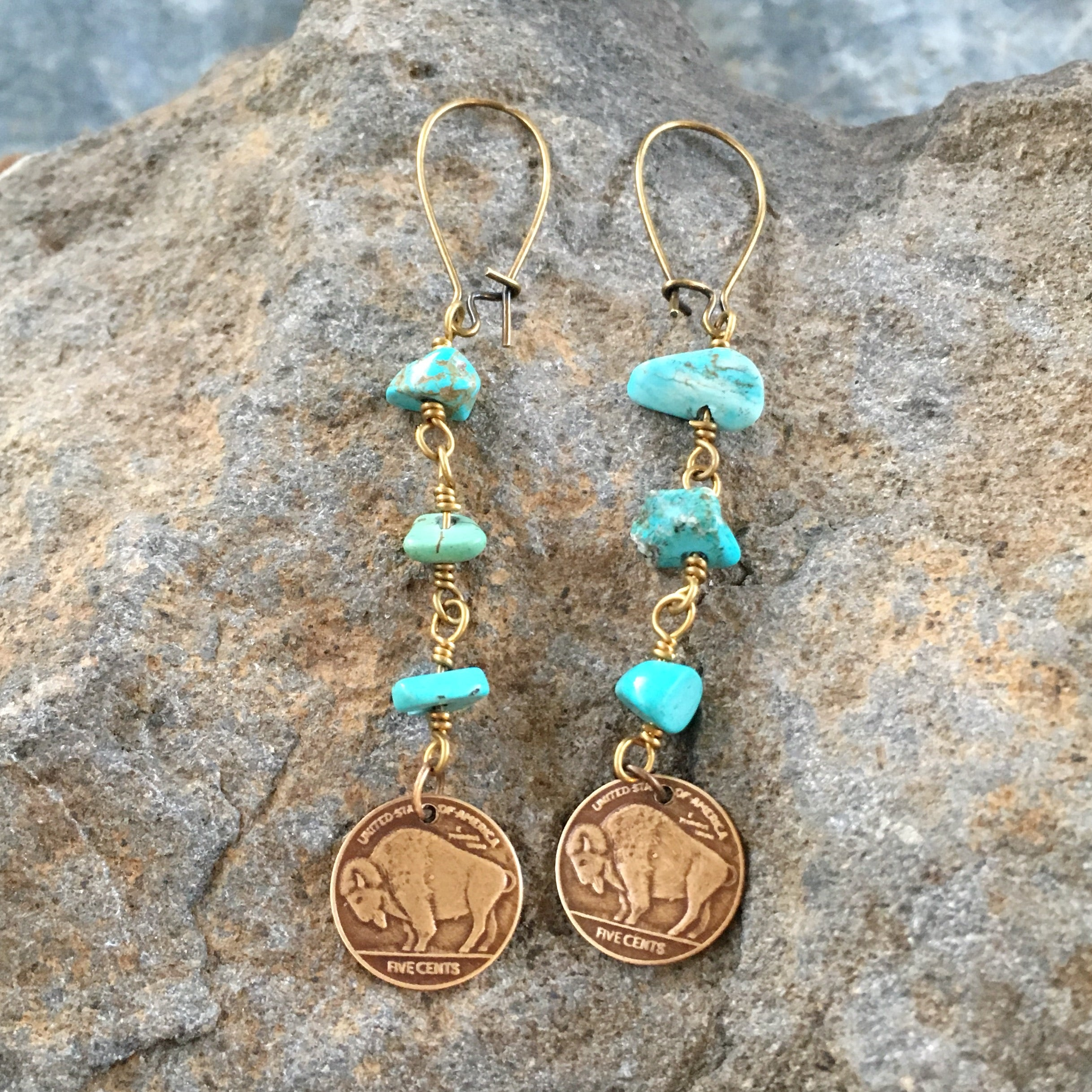 Bronze Buffalo Stone Earrings