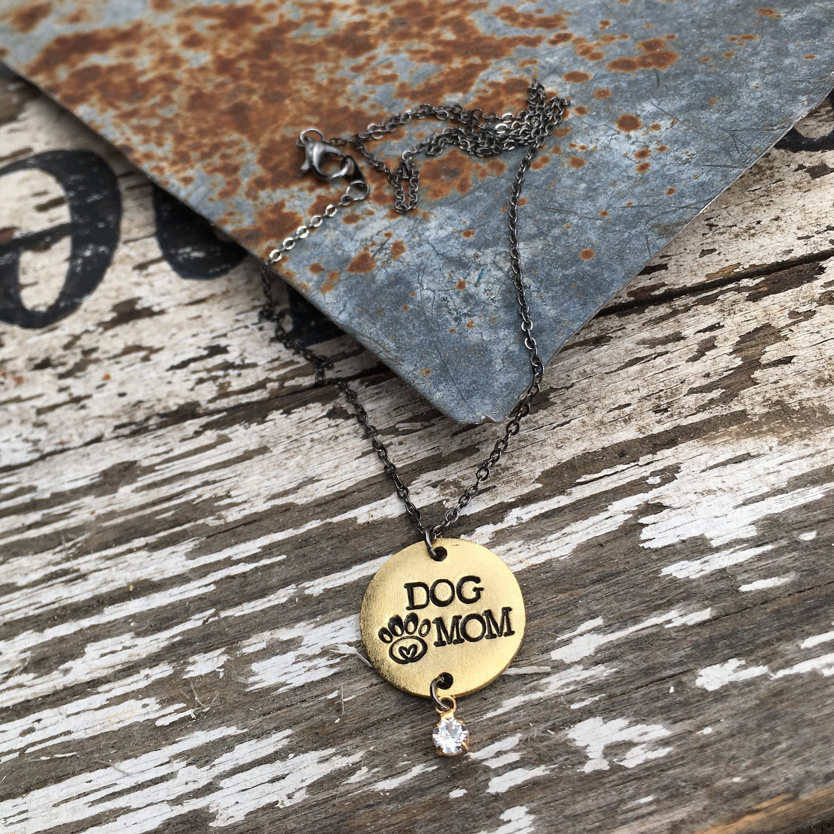Dog Mom Hand Stamped Necklace - Animal Lover Jewelry