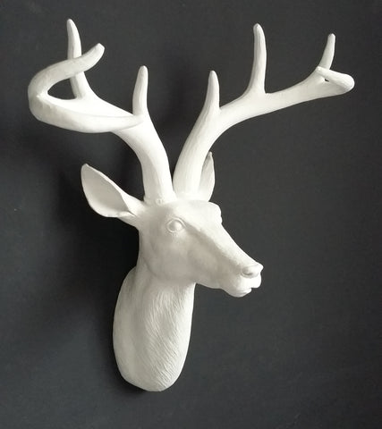 White Stag Head wall ornament Wall Hanging Deer Head - magnoliavintage