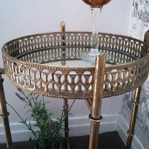 Gold & Mirrored Tray Table - magnoliavintage