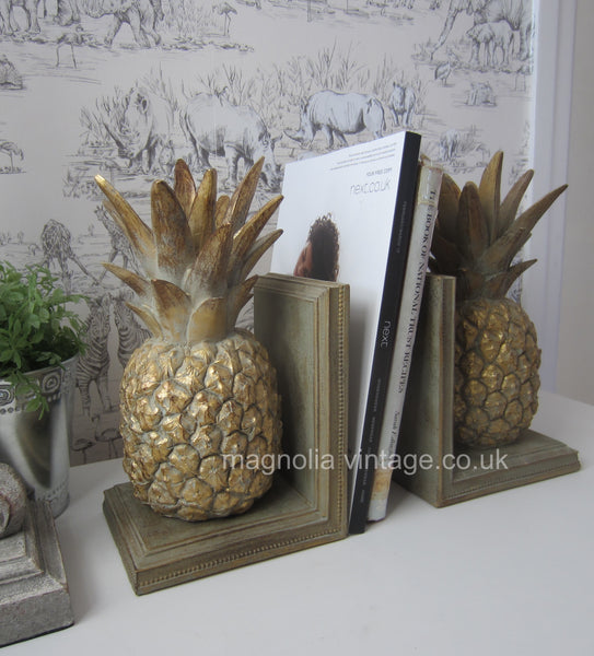 Gold vintage Pineapple Bookends - magnoliavintage
