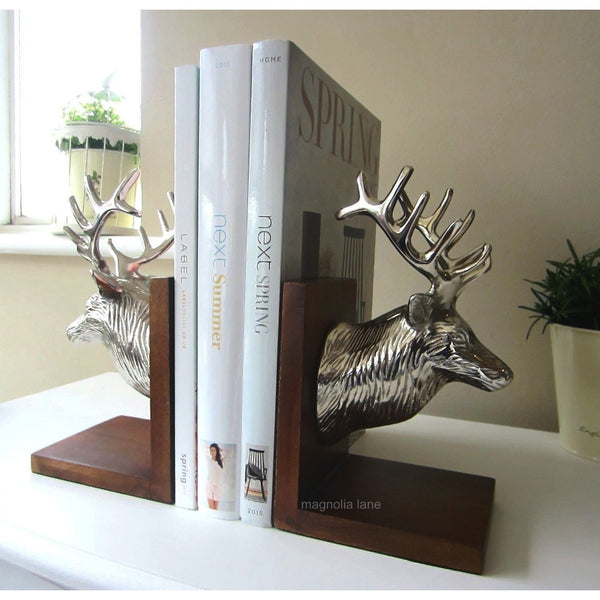 Stag Head Bookends silver and wood - magnoliavintage