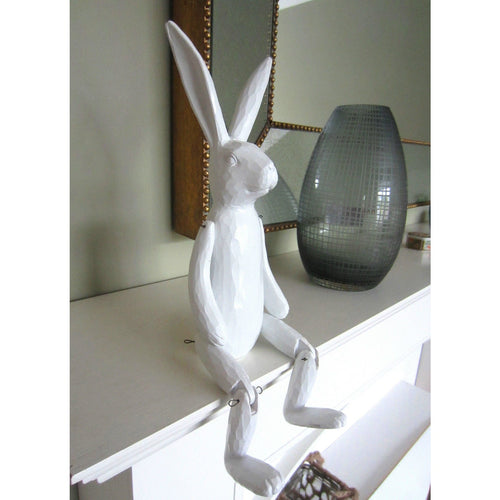 White wood effect sitting rabbit home ornament - magnoliavintage