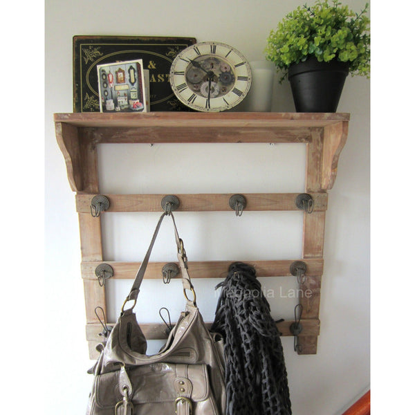 Wooden Wall Rack Coat Hooks with 16 Hooks Country Chic - magnoliavintage