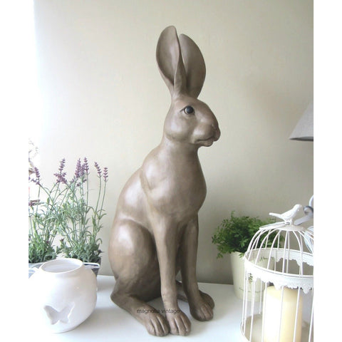 Ornamental Large Sitting Hare Figure H62cm Country Chic Rabbit figure - magnoliavintage