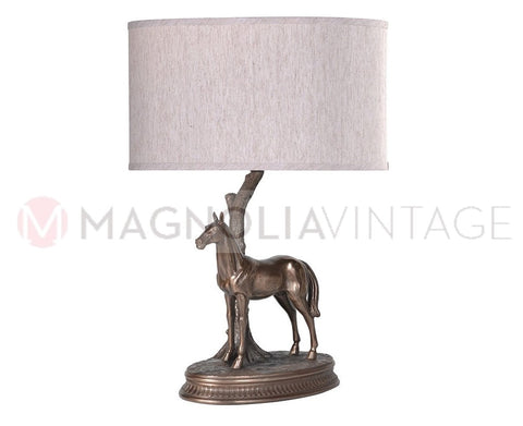 Bronze Effect Horse Table Lamp - magnoliavintage