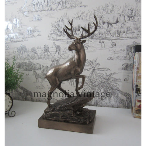Bronze Effect Stag Statue - magnoliavintage