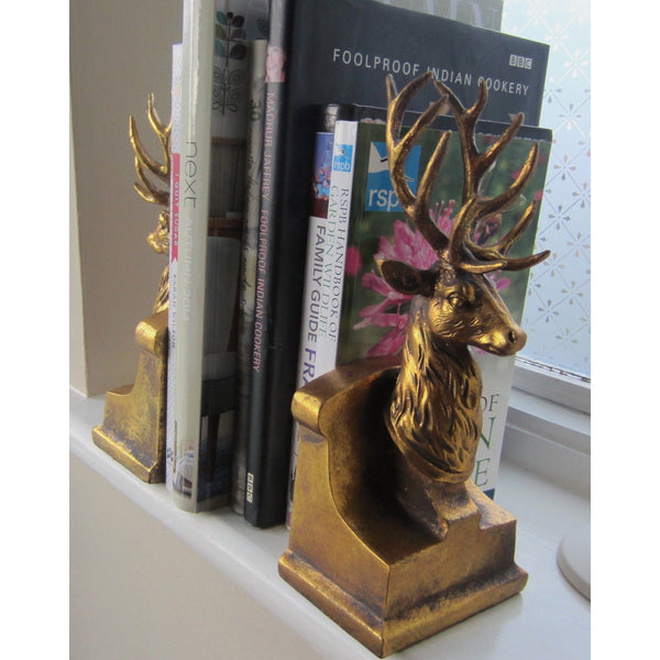 Gold Stag Head Book ends. - magnoliavintage