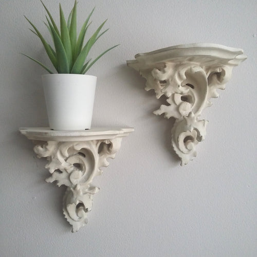 Pair Antique White Wall Sconce - Corbel - magnoliavintage