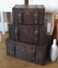Load image into Gallery viewer, Set of 3 Vintage style Trunks Brown Faux Leather storage trunks boxes - magnoliavintage