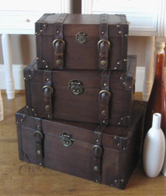 Set of 3 Vintage style Trunks Brown Faux Leather storage trunks boxes - magnoliavintage