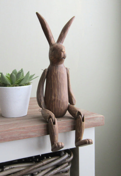 Wood effect Sitting Rabbit home ornament Country Chic Gift - magnoliavintage