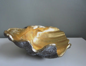 Shell Bowl Gold and Grey, Clam Shell - magnoliavintage