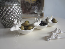 Load image into Gallery viewer, White Ceramic 3 Bowl Serving Dish Stag design - magnoliavintage