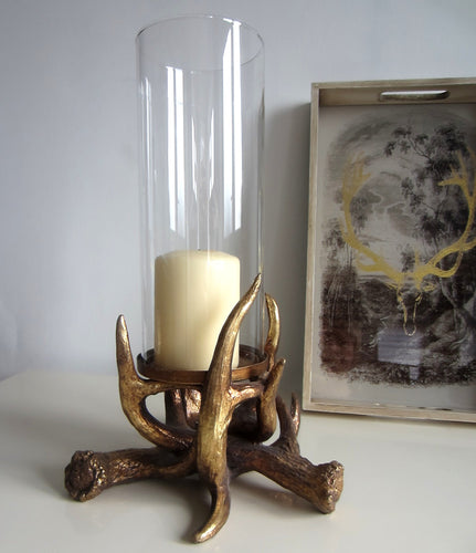 Ornate Gold Stag Hurricane Candle Holder Vintage Chic inspired - magnoliavintage