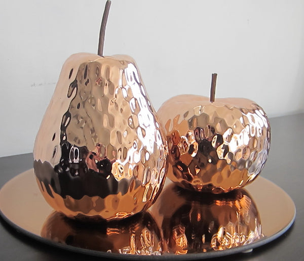 Vintage style ornamental Polished Copper Apple and Pear Fruit home decoration - magnoliavintage