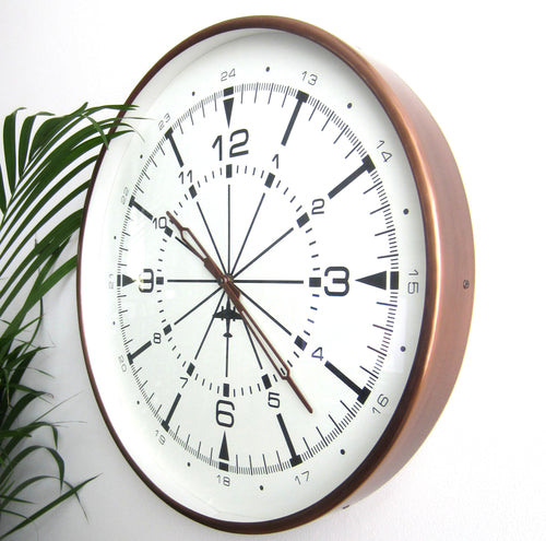 Large Vintage style Copper Wall Clock 44cm Dia impressive NEW White FAce - magnoliavintage